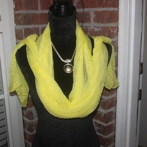 "Cato neon yellow sheer rectangular scarf 26"" X 96"""